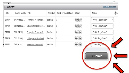 screenshot of course schedule with Submit button highlighted