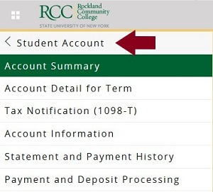 screenshot of Self-Service Banner with arrow pointing to Student Account link